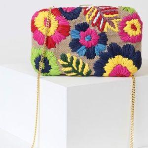 Lulus Fiji Tan Multi Embroidered Woven Clutch